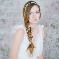 Crystal Pearl Handmade Long Bridal Headpiece