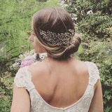 Gold Pearl Leaf Style Bridal Hair Comb