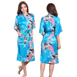 Peacock Print Bridesmaid Robe Long Length, 14 Colours Available, S-XXXL