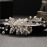 Gold or Silver Pearl and Crystal Rhinestone Bridal Hair Comb