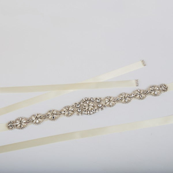 Crystal Bridal Belt in White, Ivory and Champagne
