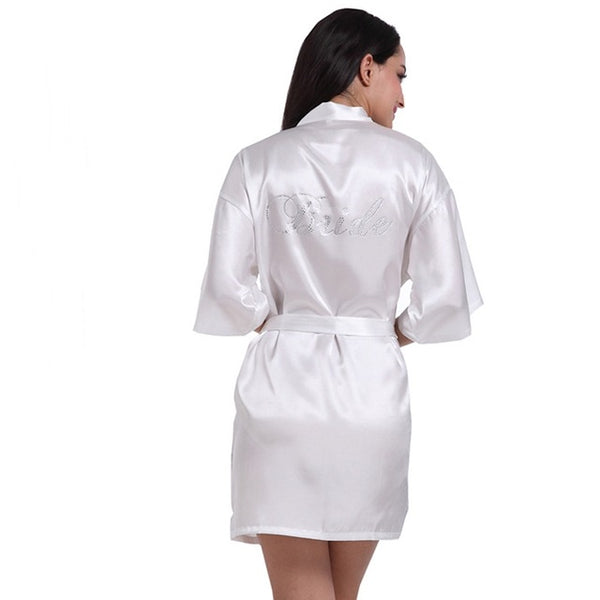 'Bride' Rhinestone White Satin Robe, S-XXL