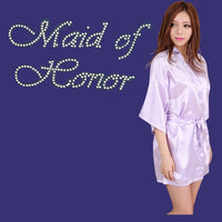 'Maid of Honor' Rhinestone Satin Robe, 12 Colours Available, S-XXL
