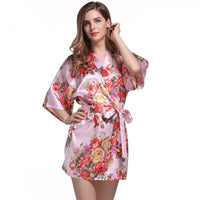 Floral Print Satin Bridesmaid Robe, 8 Colours Available, One-Size