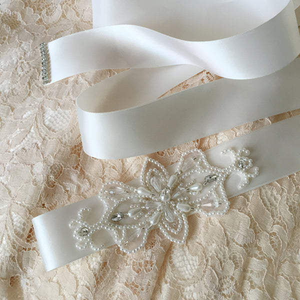 Applique Pearl Bridal Belt in White, Ivory or Champagne