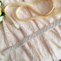 Crystal Bridal Belt in White or Champagne