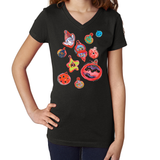 Adorable Ornament V Neck Shirt - ParisMETROCouture.com
