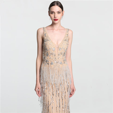 Lovely Deep-V Mermaid Gold Tulle Beaded Sequined Luxury Evening Gown - ParisMETROCouture.com