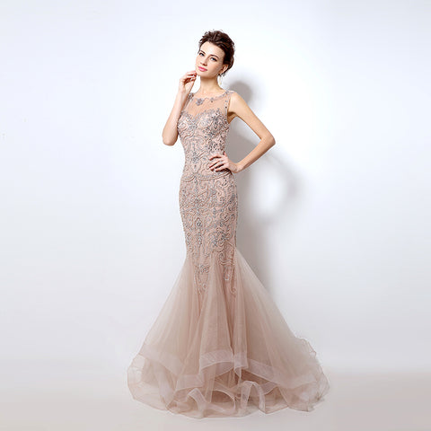 Luxury Rhinestone Mermaid Dubai Long Evening Gown - ParisMETROCouture.com