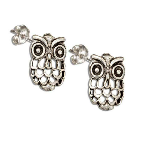 Little Hoot Owls in Sterling Silver & Open Feather Design