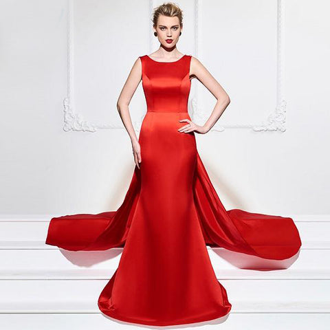 The Breathless Holiday Gown in Red Satin and Lace Trim - ParisMETROCouture.com