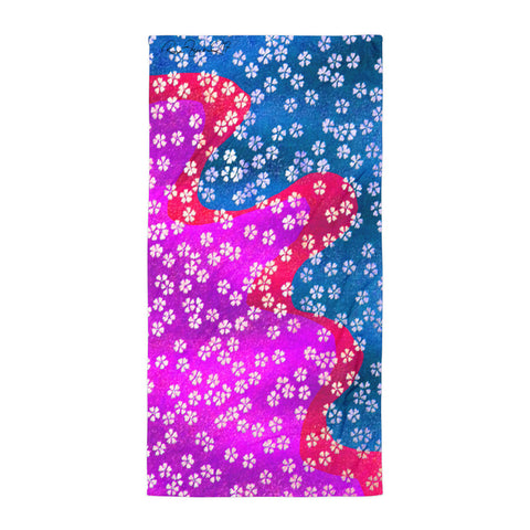 Little Flower at the Beach - Blue Fuschia Beach Towel