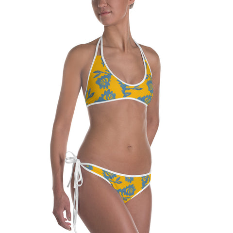 Beach Rose - Exclusive Bikini in Citrus Two Way Orange to Blue