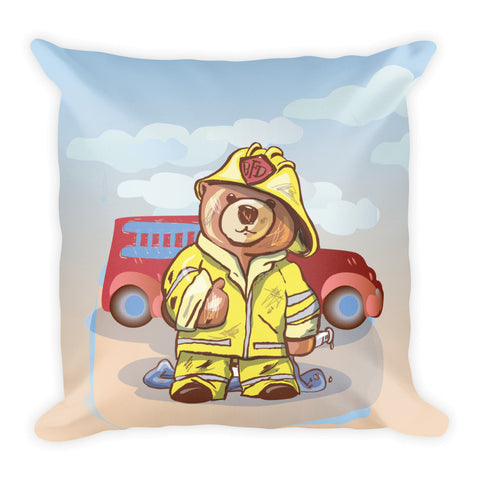 Madison Bear - Firefighter Square Pillow