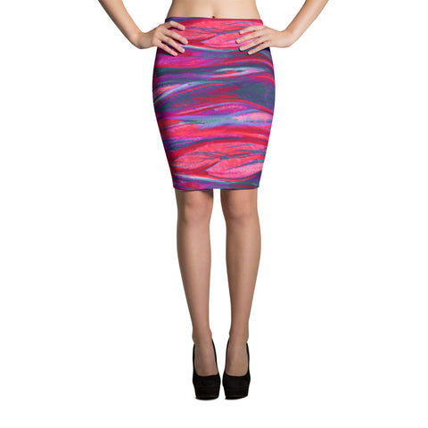 Feather Wind Bodycon Spandex Pencil Skirt-Hot Pink