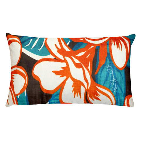 Hawaiian Vintage All Over Floral Rectangular Pillow