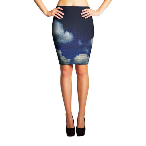 The Beautiful Blue Sky Spandex Body con Sexy Pencil Skirt
