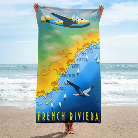 French Riviera Travel Towel