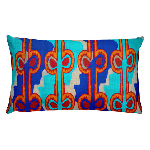 Hawaiian Vintage Woodblock Seaweed Print Rectangular Pillow