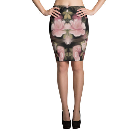 Flamingo Flower Spandex Bodycon Stretch Pencil Skirt-Pink