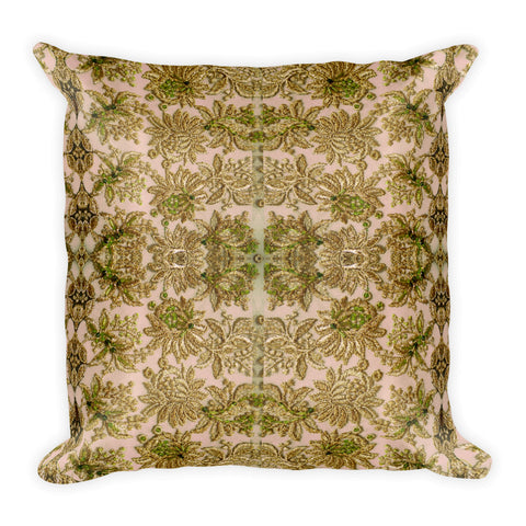French Lace in Leaf Green Square Pillow