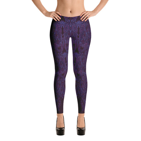 All Over Lace Spandex Bodycon Stretch Leggings in Purple