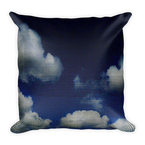 My Head is in the Clouds - Blue Square Pillow