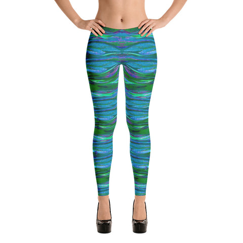 Feather Wind Stretch Bodycon Spandex Leggings in Turquoise