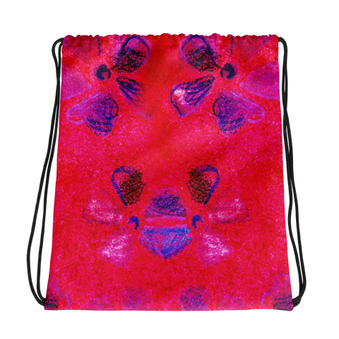 Poisy Flower Hot Pink Drawstring bag