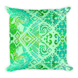Hawaiian Vintage Floral Spray in Green Sea Square Pillow