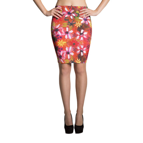 Endless Field of Flowers Spandex Bodycon Pencil Skirt-Red