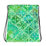 Hawaiian Vintage Green Sea Drawstring bag