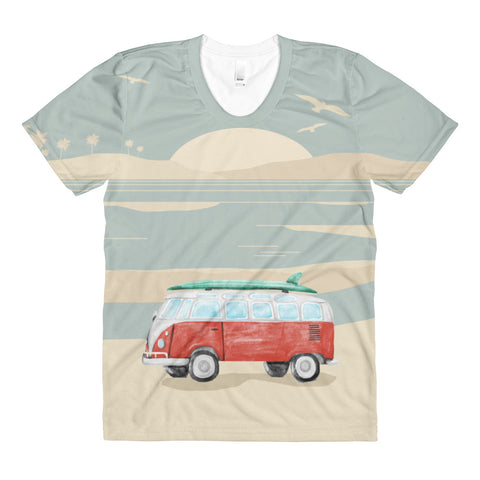 Beach Bound T Shirt - Sublimation women's crew neck t-shirt