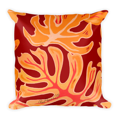 Beach Leaves in Red Yellow Square Pillow
