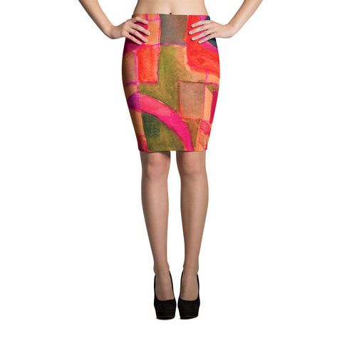 Modern Painting Spandex Bodycon Stretch Pencil Skirt