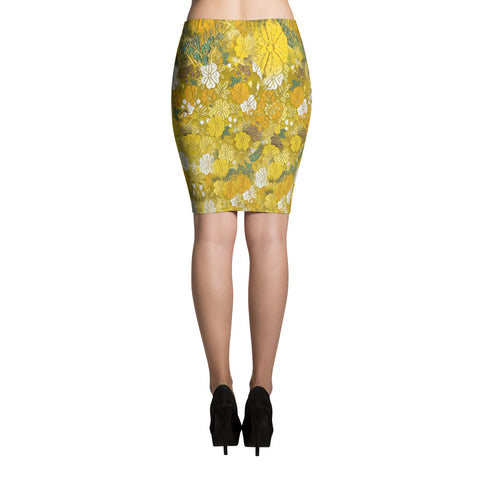 Floral Kimono Print Bodycon Sexy Print Pencil Skirt -Yellow