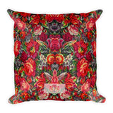 Boho Vintage Floral Red Square Pillow