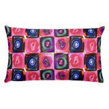 Circle in a Square Large Pink Rectangular Pillow