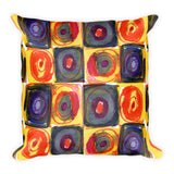 Circle in a Square Large Warm Colors Square Pillow
