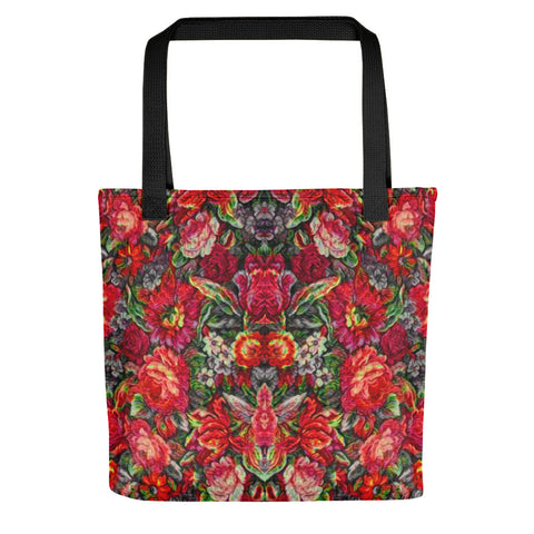 Boho Vintage Floral Red Tote Bag Exclusive Original Art