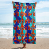 Hawaiian Vintage Woodblock Seaweed Print Beach Towel