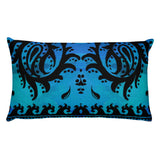 Paisley Border Cool Blue & Black Rectangular Pillow