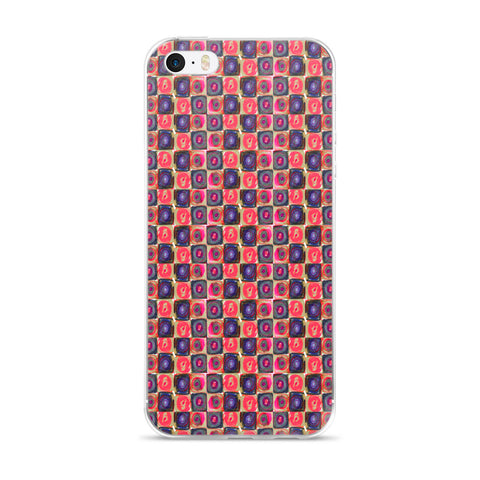 Square in a Circle - Pink Tones Cell Phone Case - Fits iPhone X and Other Sizes 5-X