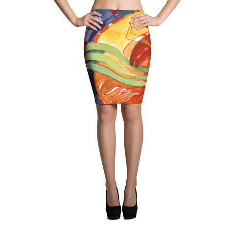 Abstract Modern Stretch Bodycon Spandex Pencil Skirt-Yellow