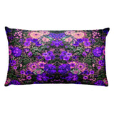 Boho Flower Field Purple Rectangular Pillow