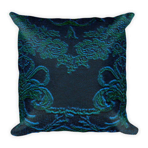 Baroque Teal Square Pillow