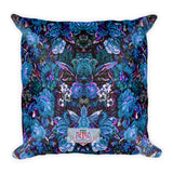 Boho Vintage Blue Floral Square Pillow