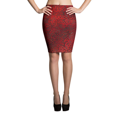 On My Way Little Flower Spandex Bodycon Pencil Skirt-Red