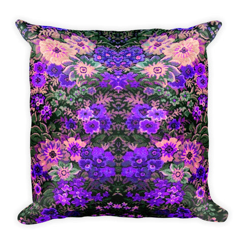 Boho Flower Field Purple Square Pillow Original Art
