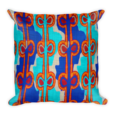 Hawaiian Vintage Woodblock Seaweed Print Square Pillow